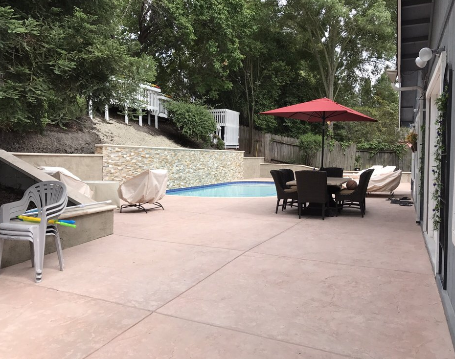 this image shows a patio and pool deck in fremont, ca